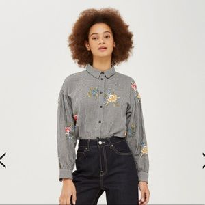 Houndstooth Floral Embroidered Shirt